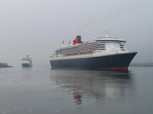 Queen Mary 2 and Queen Elizabeth arrive